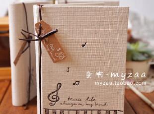 zaa杂啊 听..钢琴静静的旋律 森林系麻布封面日记本 笔记本子 32k,文具,