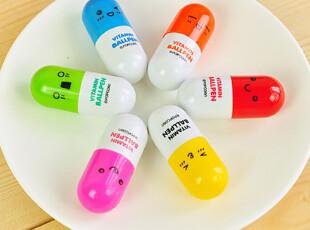 三年二班●日韩国文具 创意可爱药丸表情 小清新 伸缩圆珠笔 6款,文具,