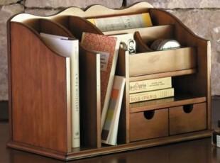 【纽约下城公园】书房必备 松木超质感写字台置物架(木色/黑色),文具,