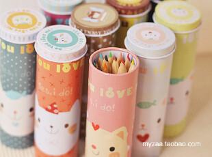 zaa杂啊 迷你可爱圆筒铁盒装12支铅笔+便签套装 韩国文具 随机,文具,