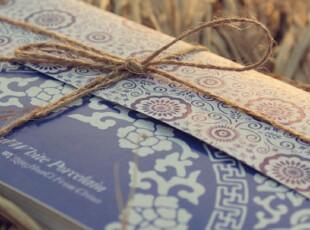 中国风 古韵问青花瓷 麻绳包系 创意明信片 经典瓷器花纹系列,文具,
