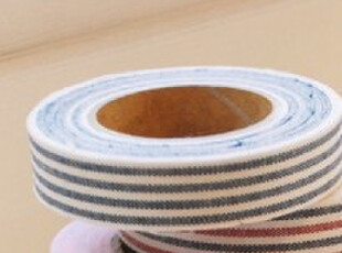 韩国进口E2可爱布艺DIY装饰胶带 经典条纹-深蓝色,文具,
