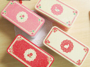 日韩国可爱文具 杂货 ZAKKA 小碎花 铁皮文具盒 收纳盒 天克铁盒,文具,