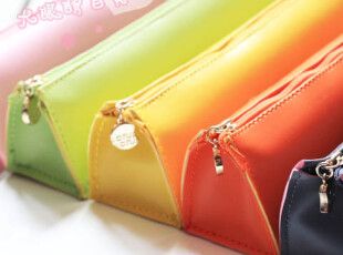 韩国创意 三角糖果色可爱简约皮质学生笔袋文具收纳袋化妆包WD147,文具,