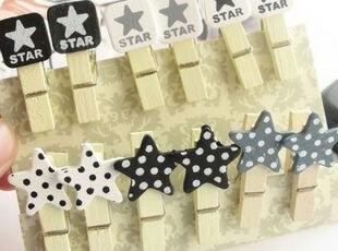 ★韩国文具★可爱 木质 星星STAR 夹子 拍立得 照片夹 夹子,文具,