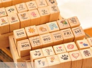 特 超可爱迷你小木盒DIY日记印章 4款选,文具,