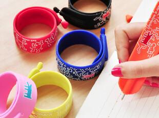 三年二班●韩国文具 糖果色炫酷装饰手环圆珠笔 蓝色笔芯创意,文具,