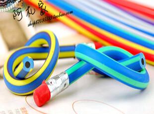 满45包邮 新奇特软铅笔 可随意弯曲不会折断的铅笔 彩条软铅笔,文具,