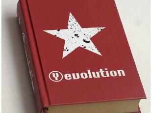 64K 黑红五星 时尚 创意 厚 牛皮纸空白内页 涂鸦 记事本子 330克,文具,
