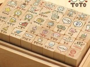 韩国文具 toto可爱兔兔木盒印章 可爱 日记表情印章 -40枚入,文具,