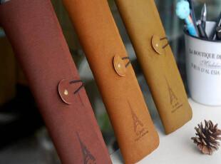 妖怪 复古气质 巴黎铁塔绑带磨砂面仿皮笔袋|收纳袋-3色49gHN,文具,