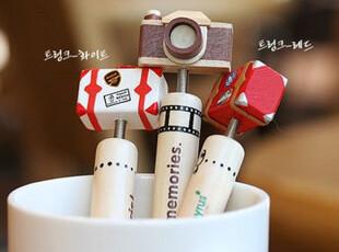 日韩文具可爱木头圆珠笔 卡通摇摆头复古照相机圆珠笔 只有相机款,文具,