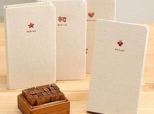 C大调♥韩国文具 复古简洁布面 红色图标笔记本 创意笔记记事本子,文具,