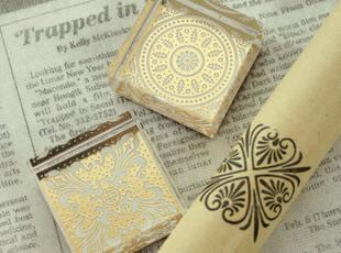 【方形】韩国 高贵典雅花纹水晶印章 透明 卡通 可爱印章复古印章,文具,