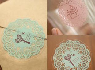 特 日单 超唯美 10枚入圆形蕾丝风格贴纸 封口贴 创意贴 4色选,文具,