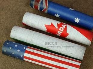 C大调♥韩国文具复古 创意国家国旗 圆形收纳筒 笔筒 笔袋 文具盒,文具,