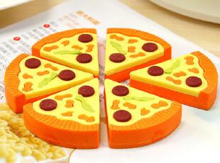 时尚豆芽※日韩国文具 创意 高仿真 披萨橡皮擦1660 6块一小盒装,文具,