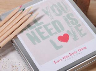 韩国创意文具 恋爱这件小事铁盒装布面本 日记本 记事本 笔记本子,文具,