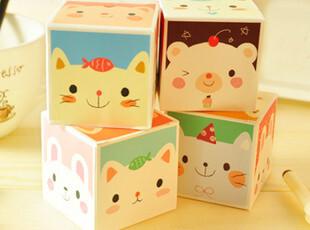 韩国文具 可爱动物 魔方式盒装便签本 便条本,文具,