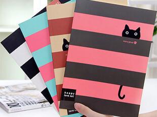 幸福市集★创意文具 可爱小黑猫 横线条纹 16k笔记本/记事本子,文具,