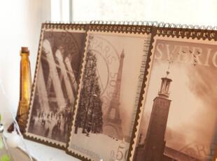 【满6件包邮】 老电影 复古邮票 硬皮线圈笔记本 4色选,文具,