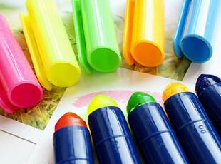 韩国●固体果冻笔头 荧光笔 记号 蜡质划线笔 5色选,文具,