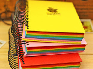 满39包邮 日韩国文具 记事本 厚线圈 全彩 彩虹内页 厚本子,文具,
