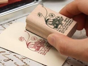 【50包邮】韩国 复古铁盒印章 爱丽丝梦游仙境 木质装饰印章 8款,文具,