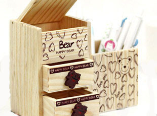 韩国创意文具 可爱小熊 双层抽屉木制收纳盒 笔筒 办公用品405g,文具,