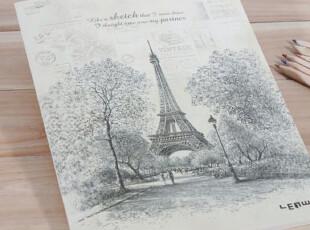 欧式复古铁塔封面软抄本子|横条内页|文具|满包邮|办公笔记本,文具,