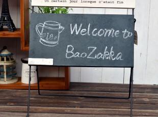 BAO ZAKKA 杂货 日单新品 旧木法文 复古 铁锈色支架 可折叠 黑板,文具,