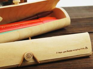 淘淘龙★笔盒韩国可爱 创意木制笔袋学生 复古原木质简约文具盒,文具,