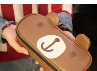 【可爱屋】韩国文具 创意卡通 大容量皮革笔袋|笔帘|文具盒|收纳,文具,
