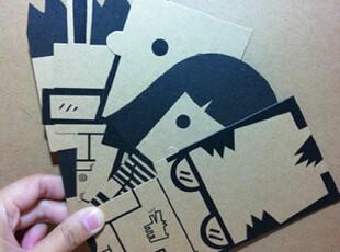 多纸巷/大黑娃书签5件套 牛皮纸书签 原创设计 创意文具 书签定制,文具,