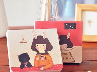 萌兔小姐&黑猫 涂鸦便签本 2款随机,文具,