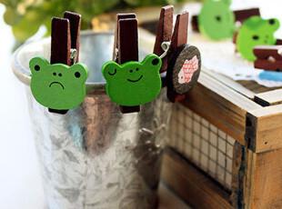 日式和风木夹 ● 小青蛙 ● 6枚入套装,文具,