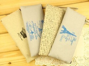 日韩国文具 巴黎记忆2 布艺笔袋 帆布笔袋 收纳袋 文具袋,文具,