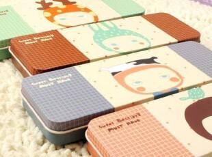 ♂最可爱♀日韩国创意文具动物寓言铁皮文具盒笔盒纸盒满88包邮,文具,