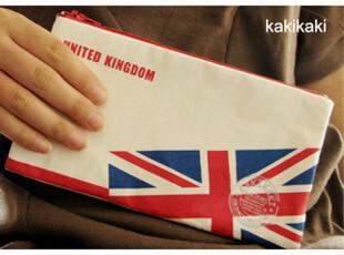 英伦笔袋,创意帆布国旗铅笔袋 拉链文具袋 复古随手包 化妆包,文具,