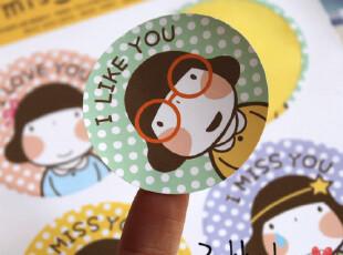 2513-韩国可爱娃娃女孩 防水圆形装饰贴纸 封口贴,文具,