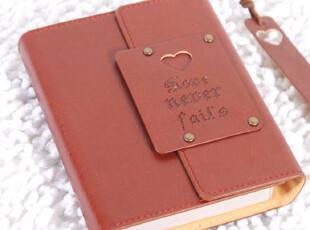 韩国经典手工皮面本子|带扣|日记本|复古|高档礼物|带书签|彩页,文具,
