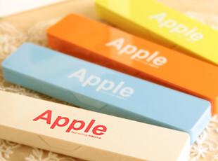 幸福市集★创意文具 可爱炫彩Apple 小巧笔盒/文具盒/收纳盒子,文具,