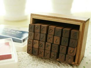 韩国funnyman 复古印章 古董木盒印章组 精版28个字母 大小写,文具,