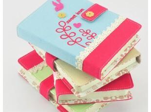 久一★韩国文具清新彩页笔记本可爱创意布面蕾丝日记本 记事本子,文具,