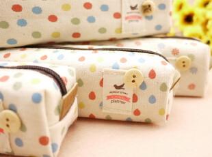 日韩国文具学习用品大容量文具袋可爱学生笔袋帆布创意波点铅笔盒,文具,