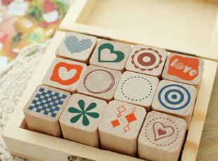 韩国文具 可爱 复古 siimpe pattern 木盒 原木印章 日记本 装饰,文具,