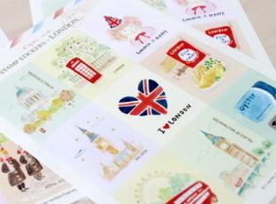 韩国文具 邮票风景贴纸 复古旅行邮票贴纸 复古邮票 3款选,文具,