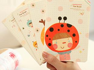 新款 日韩国文具 可爱女孩 创意 THE BUGS 笔记本 W26,文具,