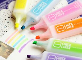 斜头大容量荧光笔 多色可选 韩国文具创意标记笔/水彩笔 6色全,文具,