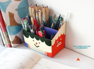 特 韩版DIY自制桌面收纳盒/笔筒PAPER PENCIL BOX (FUNNY FACE),文具,
